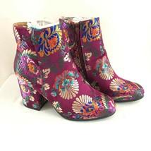 Qupid Womens Ankle Boots Satin Floral Block Heel Purple Zipper Size 7 - $30.95