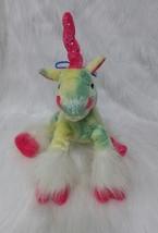 "13"" Unicorn Plush Toy Yellow Green Tie Dye w Pink Horn & Collar Sequins ... - $14.99"