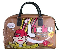 NoZu4U Banana Chan Large Duffle Bag Flight Nozuairways Japanese Music Note Brown