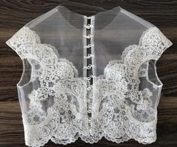 White Sleeveless Illusion Neckline Crop Lace Tops  Boho Wedding Bridesmaid Tops  image 2