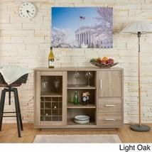 Light Oak Finish Dry Bar Liquor Cabinet Storage Wine Rack Buffet Hold 16... - $480.05