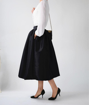 Women Red Black A-line Pleated Taffeta Skirt Ruffle Plus Size Pleated Skirt  image 8