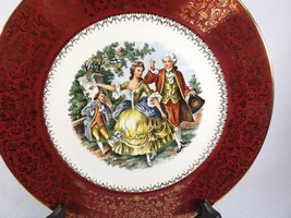 BEAUTIFUL LARGE COLONIAL COUPLE PORTRAIT PLATE-BURGUNDY HEAVY SCROLLED 2... - $13.59