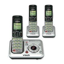 Cordless Phone Dect VTech 6.0 Plus With Answering Machine 3 Handsets Sil... - $87.36