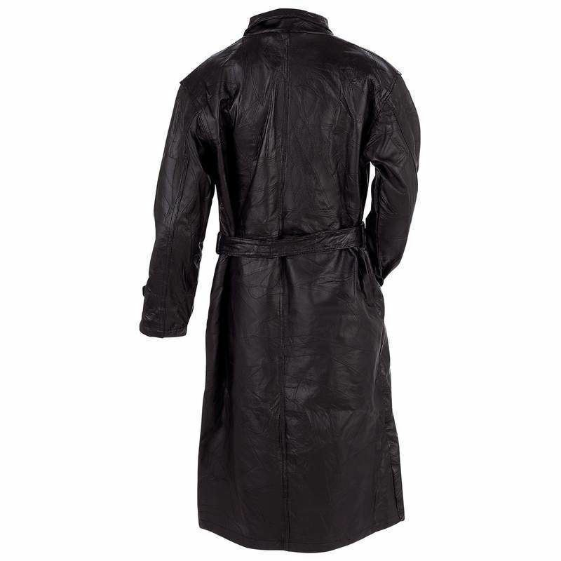 Giovanni Navarre® Italian Stone™ Design Genuine Leather Trench Coat
