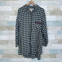 Victorias Secret Country VTG Plaid Flannel Night Shirt Gown Green Womens... - $24.74