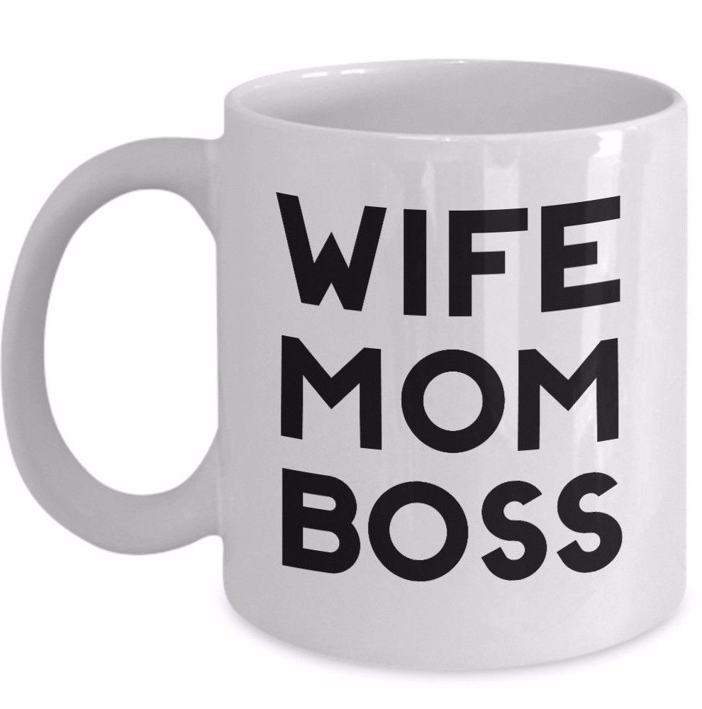 Wife Mom Boss Coffee Mug Ceramic White Cup 11oz Gift for Mother Boss Lady Sister - $19.50