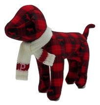 Victoria's Secret PINK Plush Dog Red and Black Plaid White Scarf Valenti... - $6.53