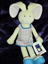 Manhattan Toy Stuffed Plush Rowena Bunny Rabbit Cream/Beige Plaid Dress ... - $148.49