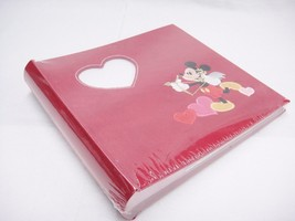 Disney Mickey Mouse Cupid Photo Album Red Suede Heart Frame Inset 50 Pag... - $16.82