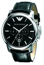 Emporio AR0431 Armani Stainless Steel Chronograph Watch Black Leather Mens Watch - $217.79