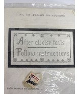 "Vintage Jane Snead Samplers ""After All Else Fails Follow Instructions"" N... - $20.74"