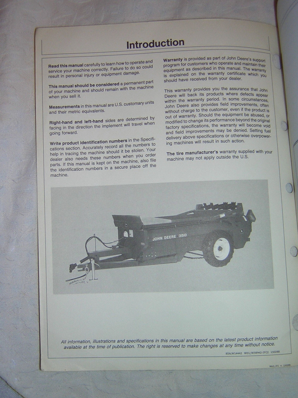 John Deere 350 Manure Spreader Operator's Manual