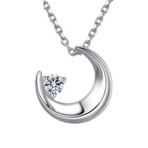 Trendy Fashion Charms Cute Sterling Silver Moon Necklace Cubic Zirconia ... - $9.16