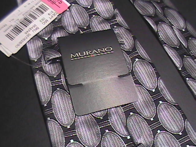 Murano Neck Tie Silver and Black Geometric Design Never worn with Paper Tags