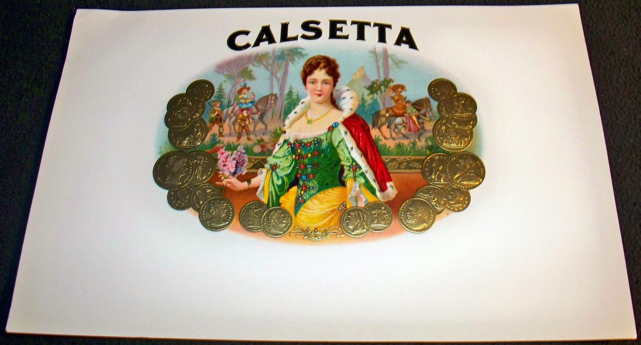 Royal Redhead! Calsetta Embossed Inner Cigar Label, 1930's