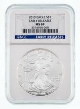 2010 Argento American Eagle Selezionato da NGC come MS-69 Presto Stampe - $34.55