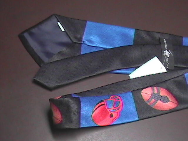 Beverly Hills Polo Club Neck Tie Football Theme on Blue Black Stripes with Tag