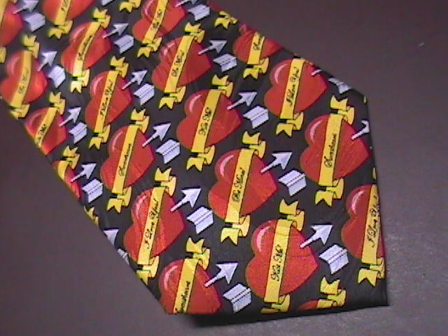 Keith Daniels Neck Tie Black Background with Repeating Red Valentine Hearts