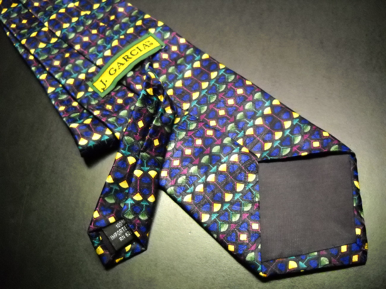 J Garcia Neck Tie No Title Bright Horizontal Bands of Blues Greens Golds Silk