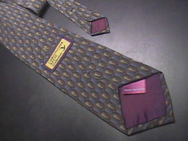 Christopher Reeves Neck Tie Susan Sarandon Soft Browns and Greys Green Dots Silk