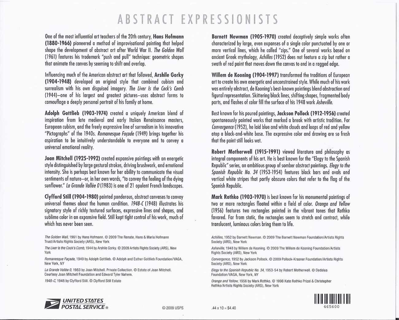 ABSTRACT EXPRESSIONISTS 2010 S/SHEET of 10 - US MINT .44cts Stamps