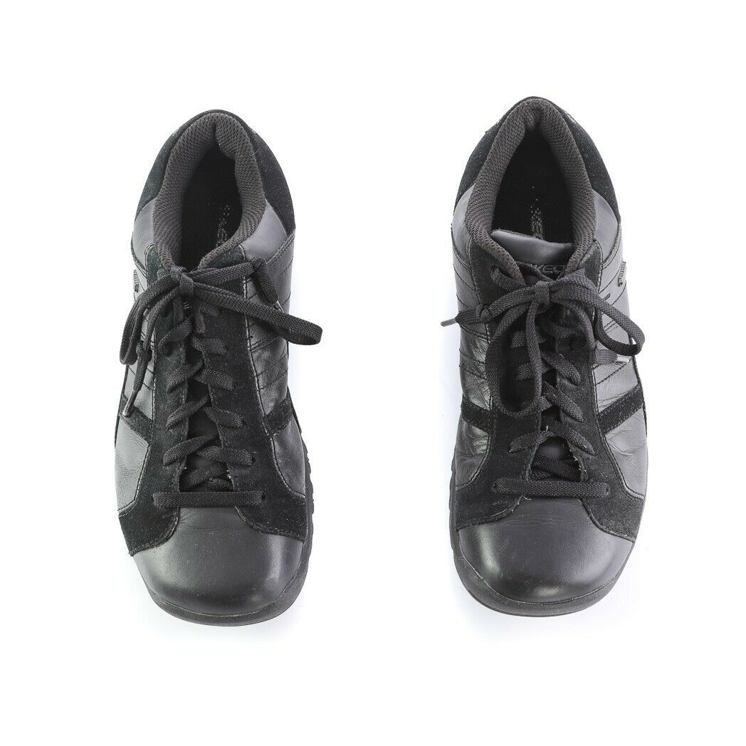 Skechers Black Leather Suede Fashion Sneakers Walking Shoes Square Toe Womens 8
