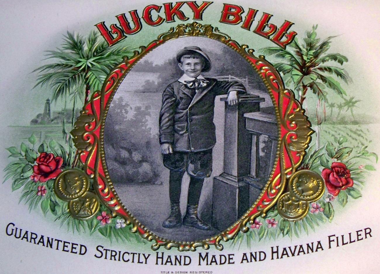 Lucky bill inner cigar label 001