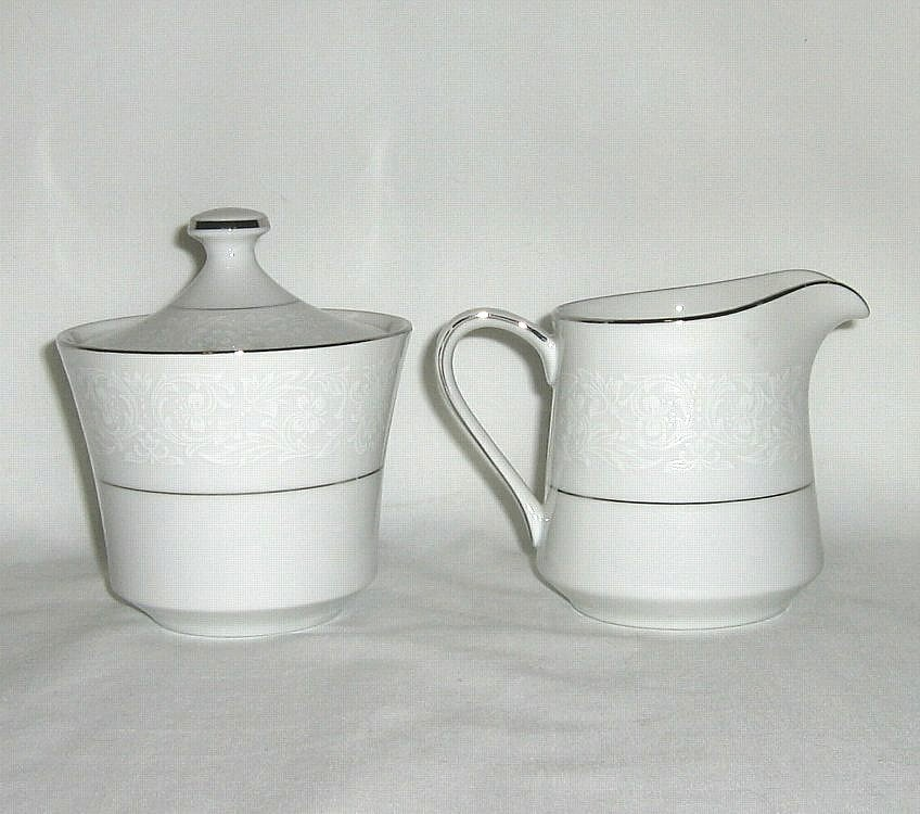 Style House Brocade Creamer and Sugar Bowl with Lid