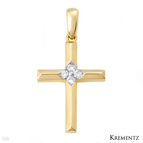 krementz cross pendant with diamonds made in 14k yellow gold