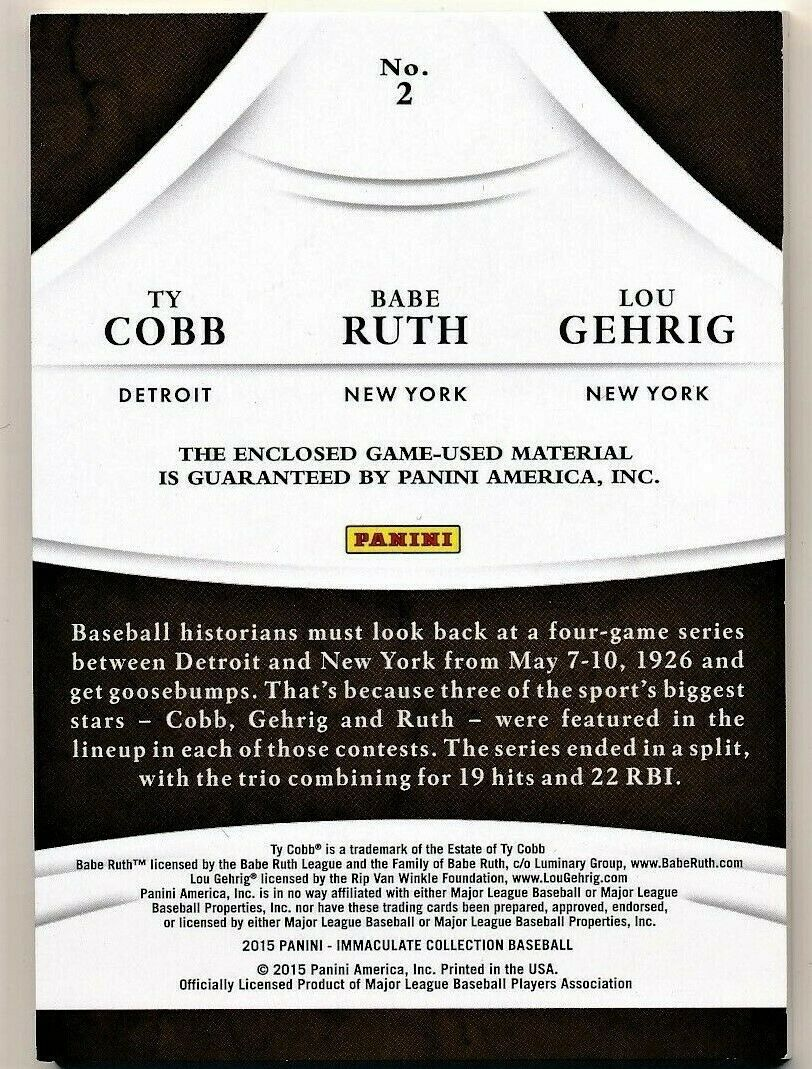 2015 Immaculate Collection Babe Ruth/ Lou Gehrig/ Ty Cobb Game Used Card #23/25 image 2