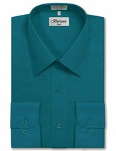 Berlioni Italy Men's Long Sleeve Solid Regular Fit Teal Dress Shirt - 2XL image 1