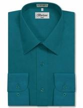 Berlioni Italy Men's Long Sleeve Solid Regular Fit Teal Dress Shirt - 2XL