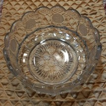 "Vtg Fostoria Crystal Clear Frosted Coin Glass 7 ¼"" Centerpiece Bowl Cand... - $11.30"