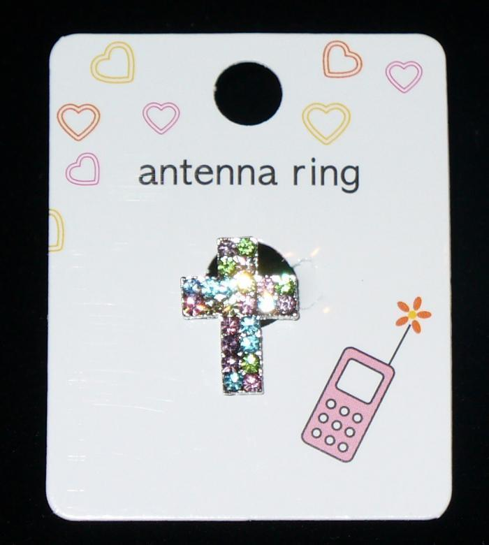 MULTI COLORED CROSS Cell Phone Antenna Ring