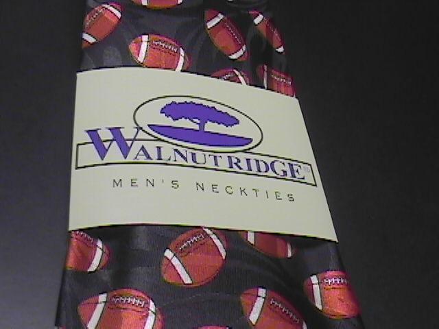 Walnut Ridge Neck Tie Tossed Footballs on Black Background Unused in Sleeve