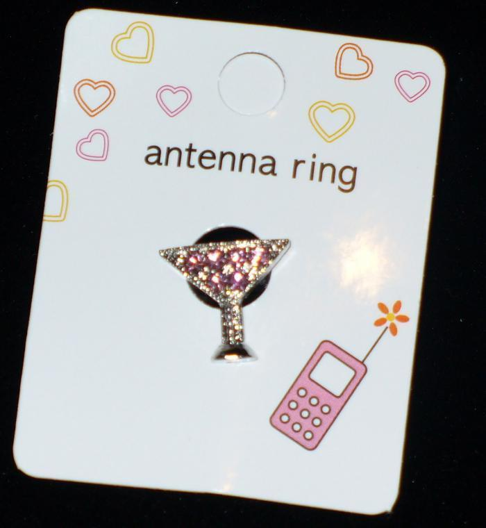 PINK MARTINI GLASS Cell Phone Antenna Ring