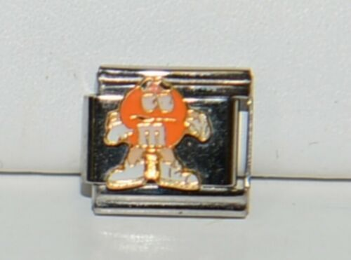 Casa DOro 9299 Orange M and M Character Link Italian Charm Stainless Steel