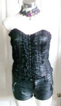 Gorgeous Black VELVET/TEXTURED/LACE CORSET-HOOK Catches Corset Top.Size 1O - $29.03