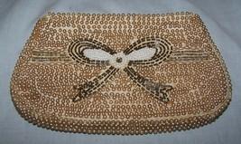 Vintage Tri-color Beaded, Pearl Unmarked Clutch Purse/Bag w/zipper closu... - $16.50