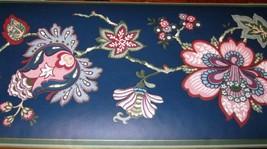 Wallpaper Border Traditional Floral Flower Navy Blue Green Trim Decor 38... - $14.29