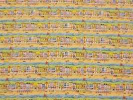 Sea Front Beach Boats 100% Cotton High Quality Fabric Material 3 Sizes - $2.88+