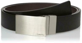 Calvin Klein Men's Reversible Plaque Buckle 32mm Genuine Leather Belt 7539296