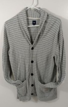 Men's GAP Sweater Gray Striped 100% Cotton V-Neck Button Front Size S RN 54023 - $23.97