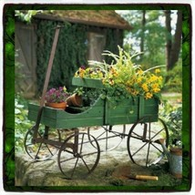 Patio Wood Wagon Showcase Plant Stand Cart Vintage Wrought Metal & Old W... - $56.92