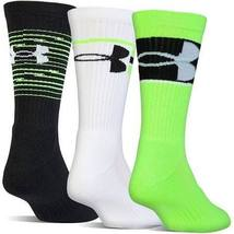 Under Armour Boy`s UA Phenom Crew Socks 3 Pack (Youth Shoe Size 13.5K - ... - $18.99