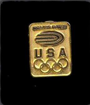 1984 Combs Gates Olympics Pinback  Bonanza