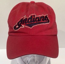 Cleveland Red Script Indians Baseball Hat Cap Adjustable Cloth Strap Clean EUC   - $22.50
