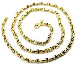 9K YELLOW GOLD NAUTICAL MARINER CHAIN OVALS 3.5 MM THICKNESS, 20 INCHES, 50 CM image 1
