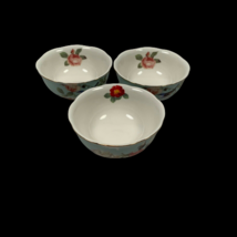 Set of 3 Gracie China Bowls Roses Bird Blue Pink 4.5 Inches Cottagecore - $20.00